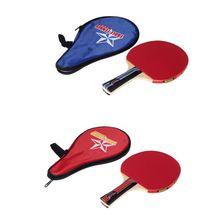 2017 Baru Panjang Menangani Goyang-tangan Tenis Meja Bola Raket Ping Pong Paddle + Waterproof Bag Pouch Merah Dalam Ruangan ZM14