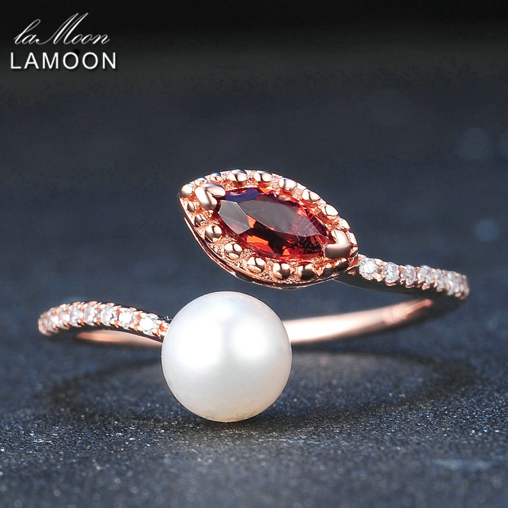 LAMOON Natural Red Garnet Freshwater Pearl 925 Sterling Silver Jewelry Wedding Ring with Rose Gold Plated
