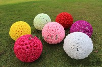 60 CM/23 Artificial Encryption Rose Silk Flower Kissing Balls Large Size For Christmas Ornaments Wedding Party Decorations