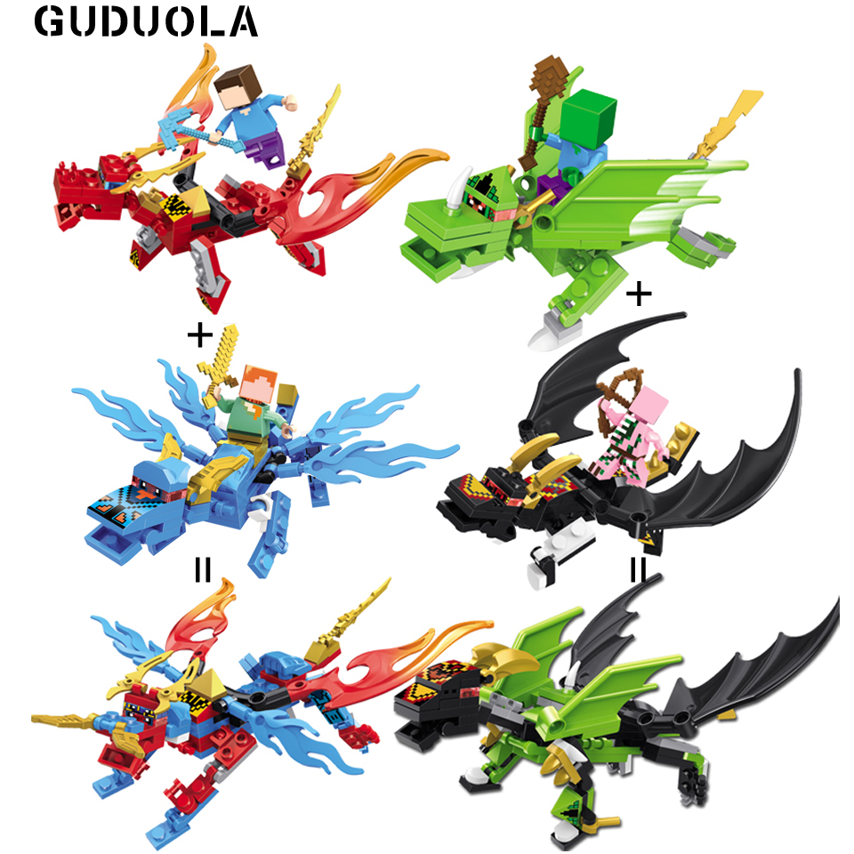 Blocks Special Section Guduola 4pcs/lot Steve Alex With Combine Dragons And Weapon Figure Building Blocks Brick Toys Set Compatible Legoing Minecrafted Wide Varieties