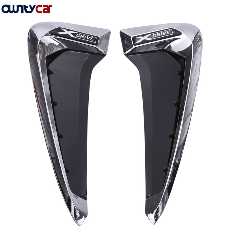 2 pièces/ensemble ABS voiture avant garde-boue côté évent garniture voiture-style pour BMW X Series X5 F15 X5M F85 requin branchies côté évent autocollant