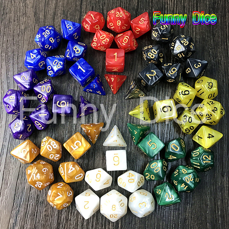 High Quality 7pcs/set Creative RPG Game Dice D&D Colorful Marble Effect Dice DND Game Dice Mixed-color for Game