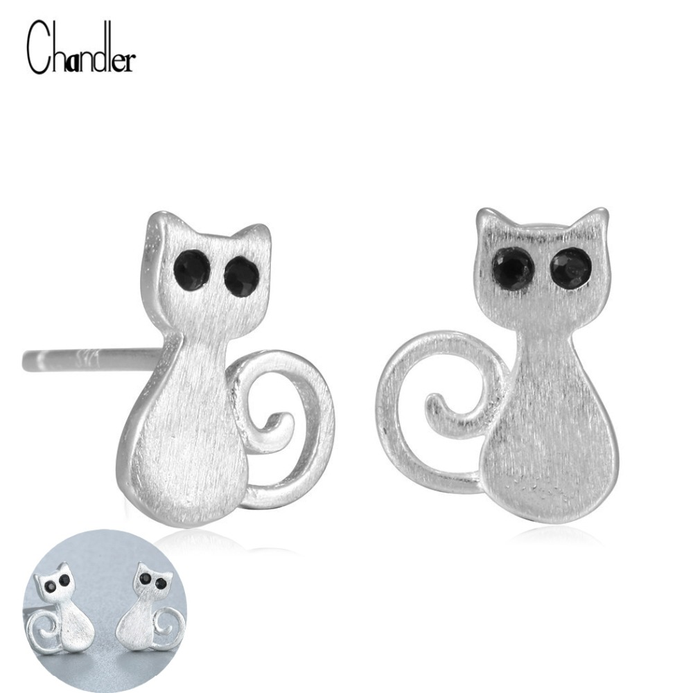 Lovely Kitty Cat Silver Stud Earring Black CZ Crystal Eye Athentic Argent Jewelry silve-sterling Mini Animal Helix Accessaries