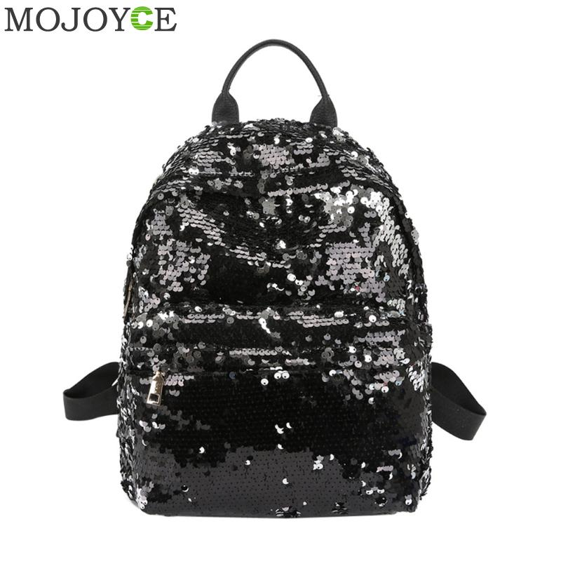 bc22229ae5e1 Sequins Women PU Backpacks Glitter Large Girls Travel Shoulder Bags Fashion  Brand Black School Bag female mochila Shine Backpack Tags