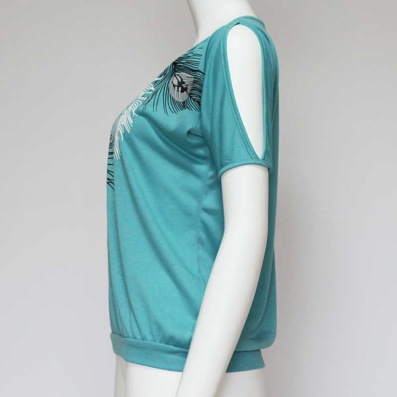 Rogi женские блузки Плюс Размер 2019 свободная сексуальная блузка с открытыми плечами рубашка женская повседневная кожаная Футболка с принтом топы Футболки женские