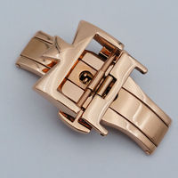 Maikes 18 20mm nova alta quliaty prata ouro rosa borboleta implantação relógio banda duplo botão fivela fecho
