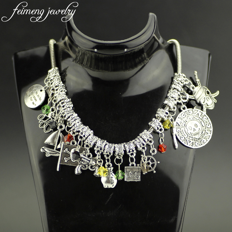 feimeng jewelry Charm Pirates of the Caribbean Choker Necklace Skull Coin Octopus Anchor Necklace For Women Fashion Accessories