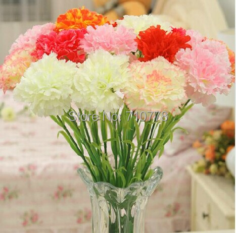 20pcs Carnation Artificial Silk Flower For Home Decoration Flower Single Fake Flowers China Mainland