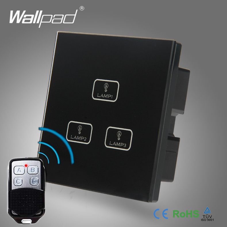 Smart Home 3 Gang Remote Best Quality Wallpad Black Crystal Glass Switch Remote Wireless 3 Gang Touch Light Control Switch white 3 gang remote control light switch crystal glass screen switch wallpad luxury us au led touch switch with remote control