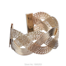 New Design High Quality Weaving Shape Big Rose Gold Cuff Bangles for Women Silver Wide Metal Bracelet Jewelry Gift