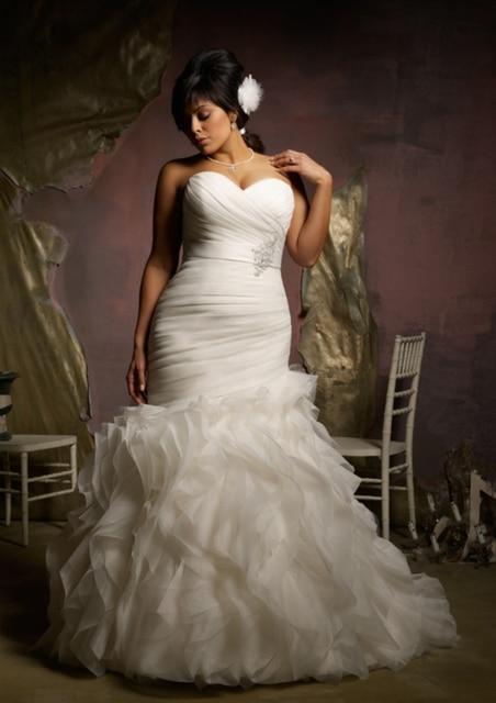 Wedding Dress Ruffled Tailored Made Sleeveless Sweetheart Corset Bodice Organza Mermaid Plus Size For Pregnant Women