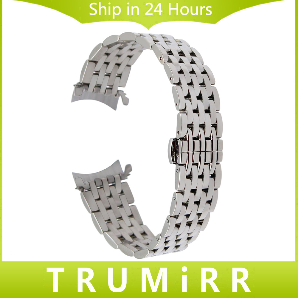 Curved End Stainless Steel Watch Band for Tissot PRC200 T055 T063 T035 T097 Wrist Strap Braceelet Silver Black 18mm 20mm 22mm curved end stainless steel watch band for breitling iwc tag heuer butterfly buckle strap wrist belt bracelet 18mm 20mm 22mm 24mm