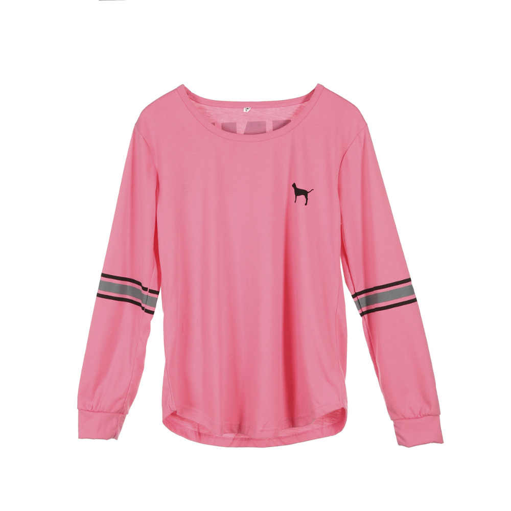 אופנה נשים מקרית חולצות Loose O צוואר ארוך שרוול מכתב מוצק חולצה אביב קיץ חדש