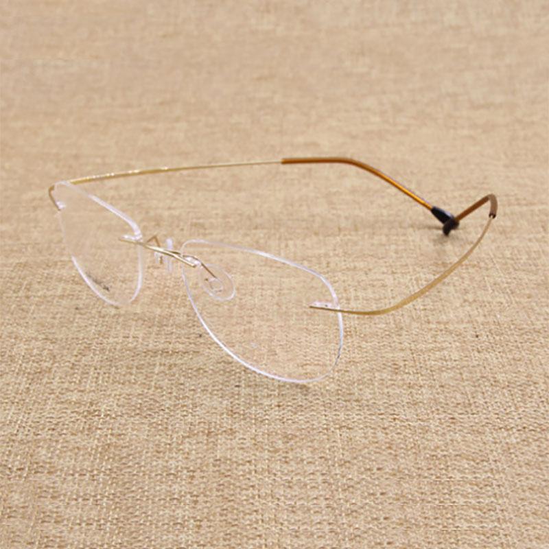 Moda Çerçevesiz Gözlük Çerçeve Optik Gözlük Titanyum Bellek - Elbise aksesuarları - Fotoğraf 5