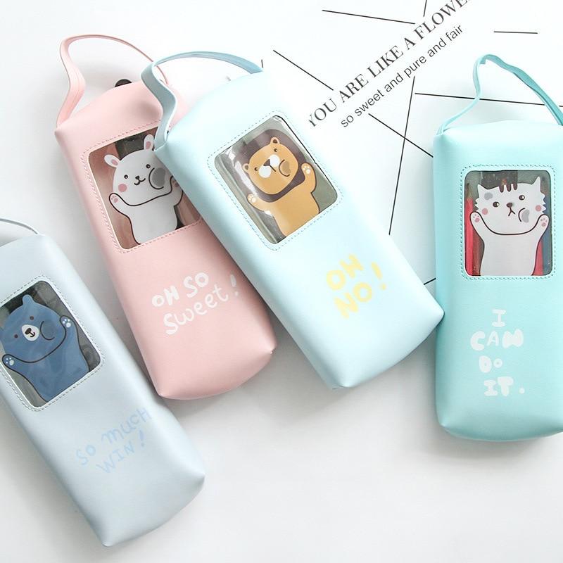Cute Kawaii Pu Leather Pencil Case Cartoon Cat Rabbit Pencil Bag For Kids Gift Korean Stationery Student 4116