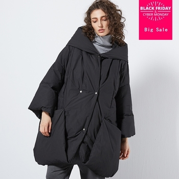 Winter plus size over the knee 90% real duck down coat female fashion brand with big pockets hooded warm down coat wq517