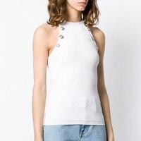 2019 Sexy Halter Neck Tank Top Women Summer Sleeveless Slim Knitted Tank Shirts Ladies Sexy Tops Sweater Shirts White Tshirt