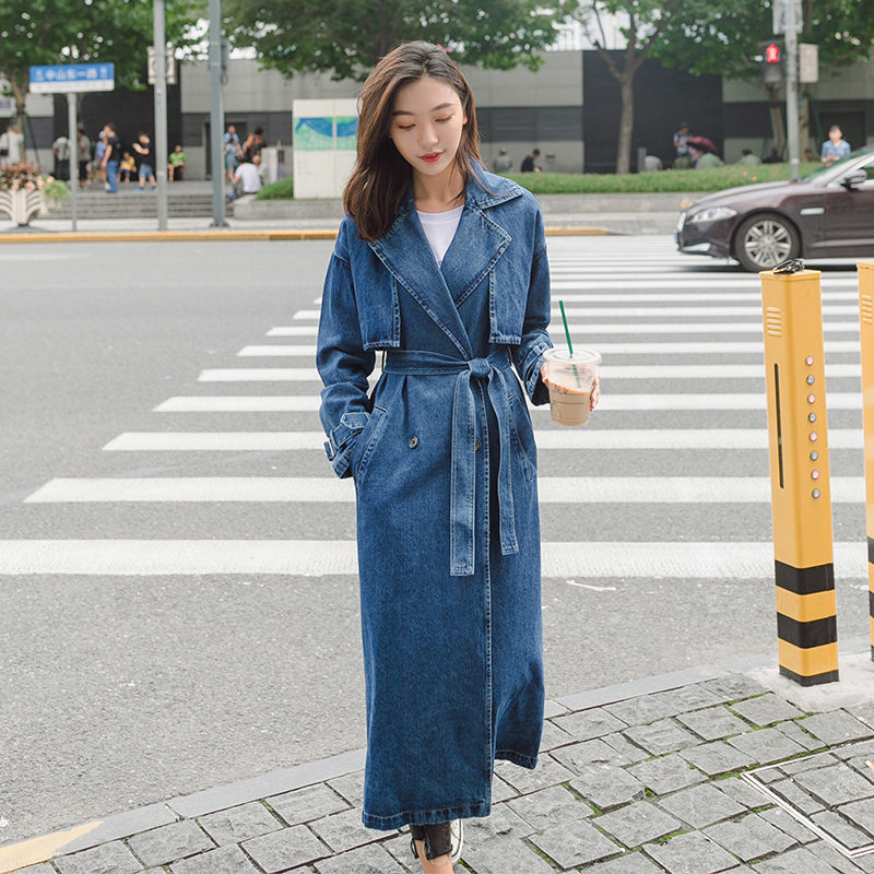 Denim   Trench   Coat For Women Autumn Loose Long Coat Women Double-Breasted Loose Jeans   Trench   Coat Windbreaker Manteau Femme C5635