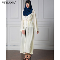 VITIANA 2017 Womens Long Islam Muslim Robe Dress Yellow Color Long Sleeve Loose Chiffon Clothing Islamic Abaya With Belt