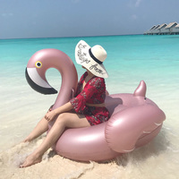 Rose Golden Flamingo Inflatable Swimming Pool Float 60 Inches Boia Toys Party Piscine Water Mattress Beach Accessories For Adult