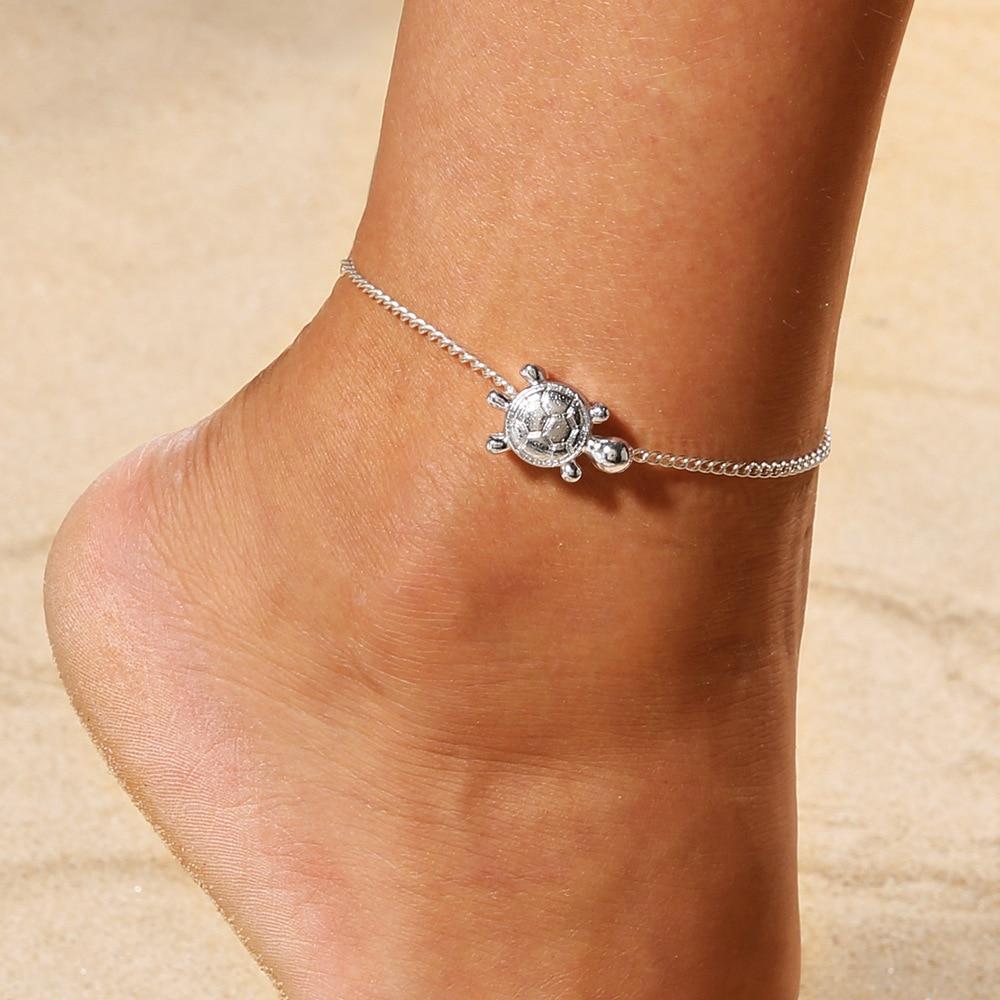 Miss JQ Boho Vintage Antique Silver Sea Animal Turtle Charm Pendant Anklets Chain Ankle Bracelet Beach Foot Jewelry Gift hamsa