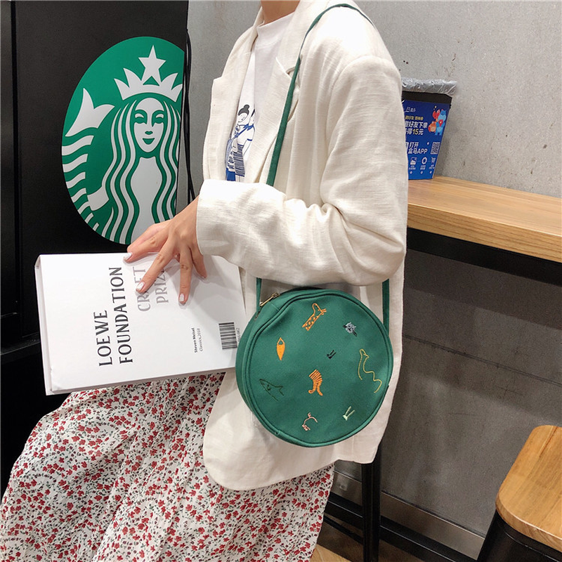 Women Messenger Bags Canvas Ladies Cloth Shoulder Bag Japan Style Cartoon Printing Zipper Crossbody Bags For Women 2019 Purses