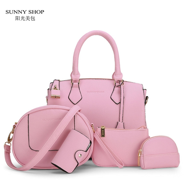 ФОТО SUNNY SHOP 5 Bags/set  New  Fashion Lock Women Shoulder Bag Brand Designer Messenger Bag  High Quality PU leather Hangbags