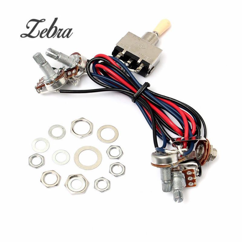 2V/2T 500K Pots 3 Way Switch Knobs Guitar Switch Wiring Harness Pickup For Dual Humbucker Replacement Guitar Parts Accessories electric guitar wiring harness prewired kit 5 way toggle switch 250k 2t1v pots for strat parts set of 10