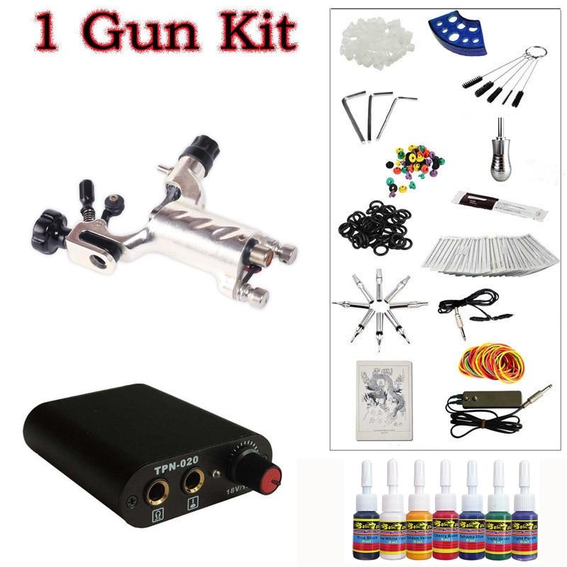 ФОТО  Beginner 1 silver Dragonfly  Rotary Tattoo Machine Gun Kit Power Supply Foot Pedal Needles Grip Tip Ink free shipping