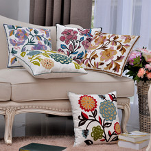 Cotton Canvas Embroidery Flowers Pillow Cushion /Decorative sofa Cushions Home Decor Throw ( do not include inner pillow)