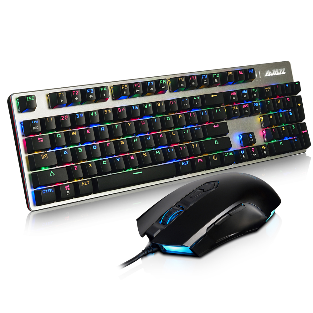 AJAZZ USB Mechanical Keyboard 104Keys RGB Lights Gaming Wired 2400DPI 7 Buttons Mouse for Overwatch PC <font><b>Notebook</b></font> Laptop Desktop
