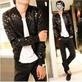 2016 Hot spring thin leopard print leather causal jacket men korean fashion men jacket slim fit veste homme men's clothing