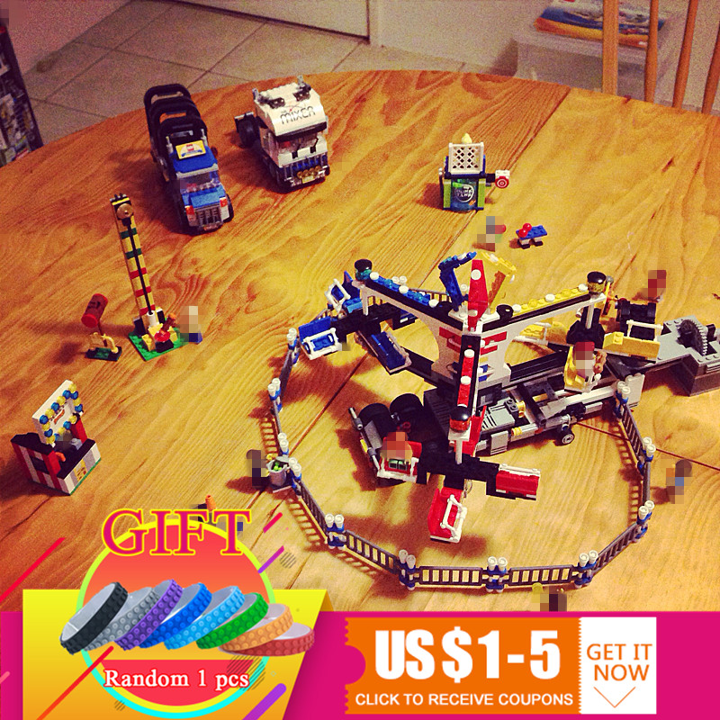 15014 1858pcs Genuine Street Series The Amusement Park Giant Stride Carnival Set Building Blocks Compatible with 10244 toy the unhappy giant level 3