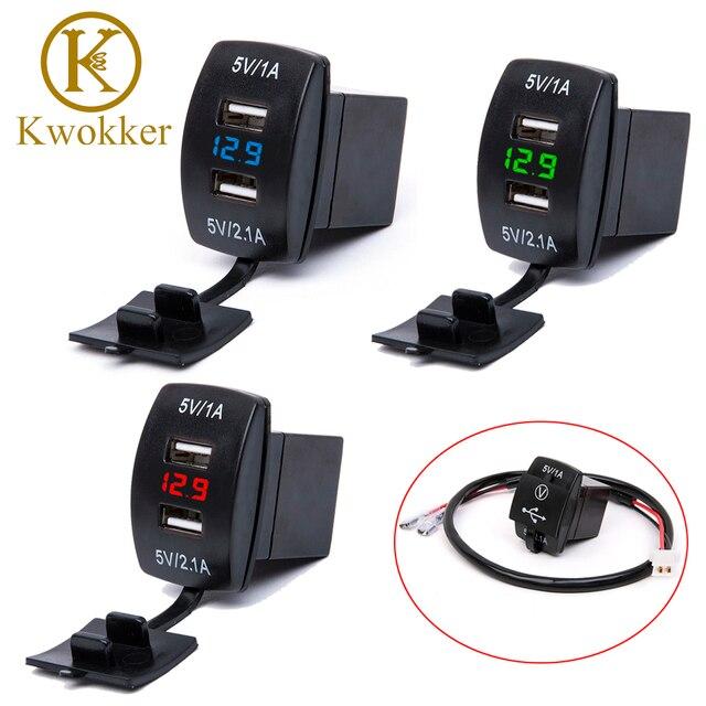 Waterproof 12V-24V Mini Micro Dual USB Plug Car Motorcycle Cigarette Lighter Socket Car Charger + LED Digital Voltmeter Meter
