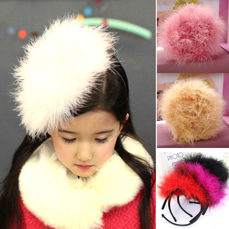 1 pc Girl Fashion Feather hair accessories fur headband ostrich hair hats hairbands New children headwear Nice Gift D50 ...
