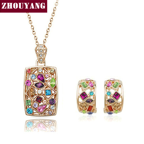 Top Quality ZYS022 Rose Gold Color Noble Eaegance Jewelry Necklace Earring Set Made with Austrian Crystals