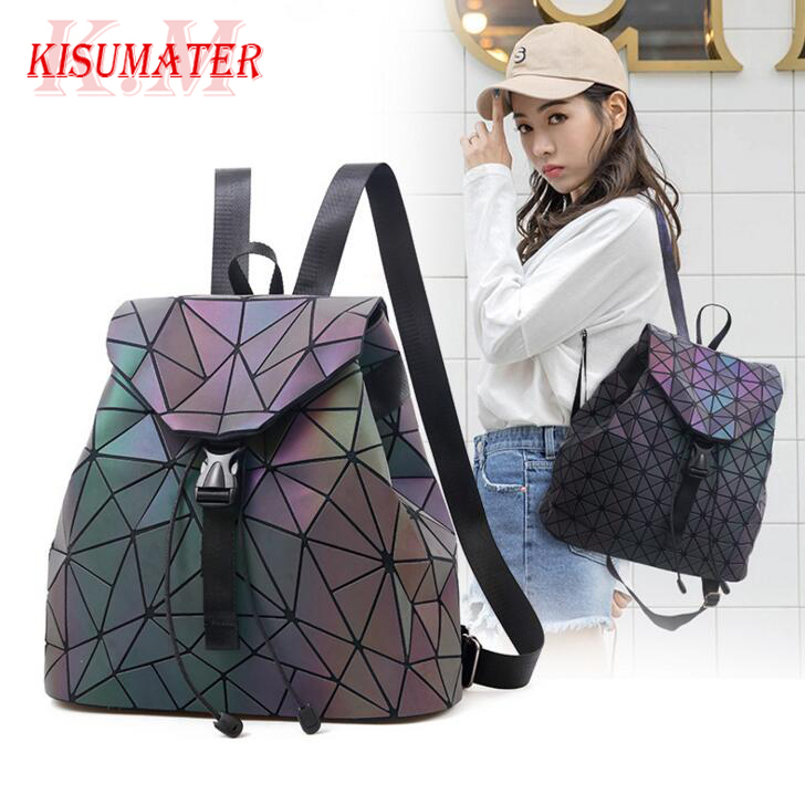 KISUMATER Luminous bag Womens Geometric backpack Noctilucent School school bag backpack Quality Bag large Free Shipping KISUMATER Luminous bag Womens Geometric backpack Noctilucent School school bag backpack Quality Bag large Free Shipping
