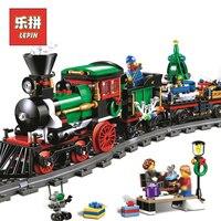 Lepin市トレイン36001クリエイティブシリーズ10254はクリスマス冬ホリデー列車セットモデル建物レンガ子供のおもちゃlepin