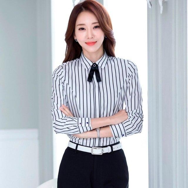 776843eae € 13.06 15% de DESCUENTO|Otoño más tamaño 4XL carrera mujeres blusa 2018  nuevo rayas Oficina Ropa para mujer Casual Camisa de manga larga arco ...