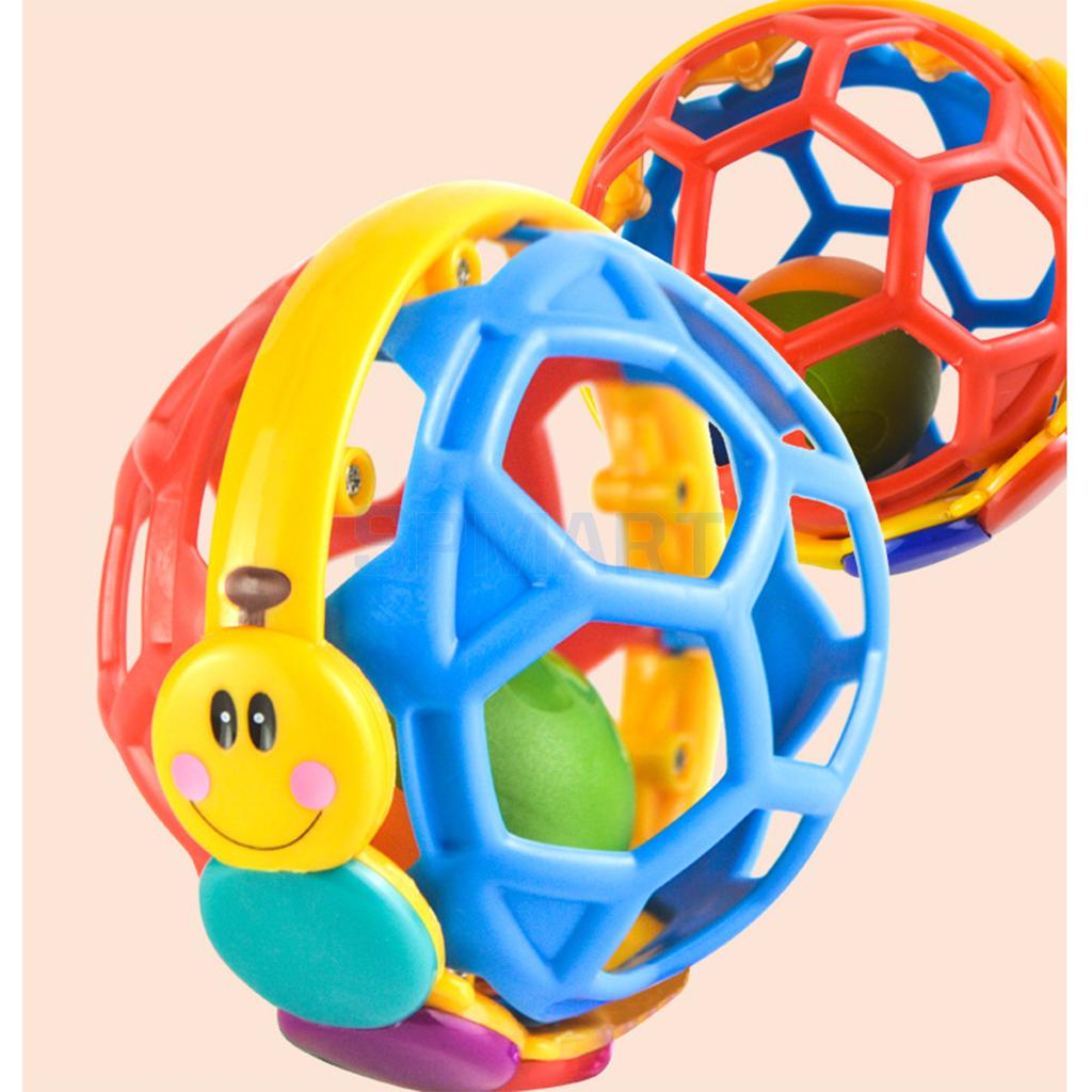 10cm Bright Colors Bendy Ball Kids Baby Hand Grasping Handbell Rattle Development Hand-eye Coordination Toy