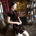 The New Super Quality Velvet Cheongsam Short Dress with Short Sleeves Modified Big Yards of Chinese style Dress