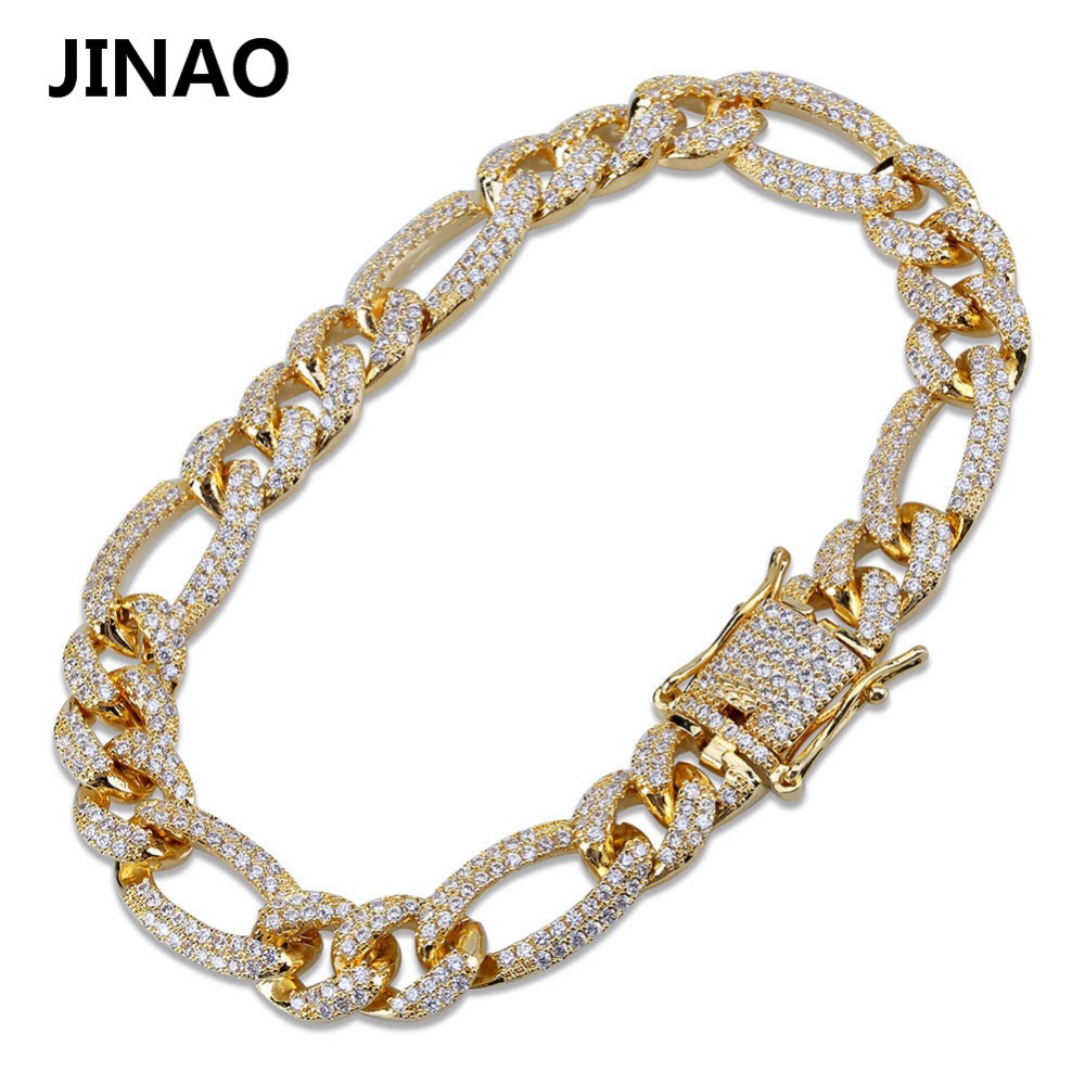Image 3 - 10mm Personality  Iced Out Miami Curb Men Bracelets Gold Silver Color Hip Hop Jewelry Cuban Chians Crystal CZ Rapper Punk Gifts-in Chain & Link Bracelets from Jewelry & Accessories