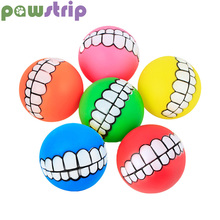 pawstrip 1pc Diameter 7cm Colorful Ball Dog Toy Soft Rubber Puppy Toys Sound Funny Tooth Chew Pet Supplies
