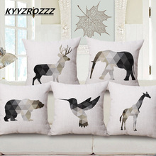KYYZROZZZ Nordic Geometric Animals Elephant Deer Bär Giraff Bird Push Covers Linne Bomull Kuddeöverdrag Pillow Case