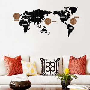 Image 4 - Creative World Map Wall Clock Wooden Large Wood Watch Wall Clock Modern European Style Round Mute relogio de parede