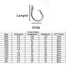 Big Stainless Steel Circle Hook Claw Tip Strong Saltwater Fishing Hook for Trolling Rigging Large Tuna Shark 24/0 20/0 28/0
