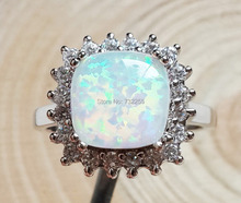 Trendy square white fire opal rings for anniversary free shipping USA SIZE 7 8 9(China)