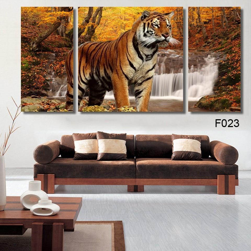 3 Pe A Linda Forte Tiger Animal Moderna Pintura De Parede Sala  -> Parede Galeria Sala