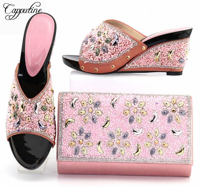 Capputine последние розовый цвет в африканском стиле женская обувь и сумки новые свадебные туфли в африканском стиле и сумка в комплекте для сва...