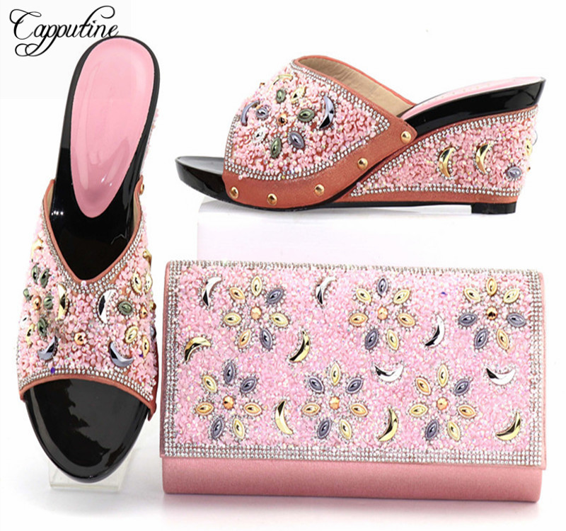 Фото Capputine Latest Pink Color African Style Woman Shos And Bags New African Wedding Shoes and Bag Set For Wedding Nigerian Shoes